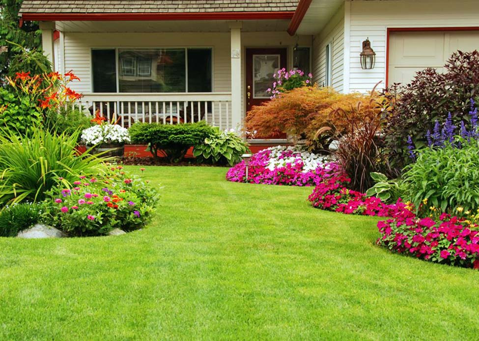 A white home with freshly cut grass and many colorful flowers and trimmed shrubs. This is the sort of landscape designed, installed, and maintained / serviced weekly by A Clean Cut Lawn Care