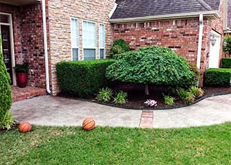 An outdoor detail shot of a manicured shrub in front of a brick house with a trimmed green yard, illustrating the type of lawn care work by A Clean Cut Lawn Care